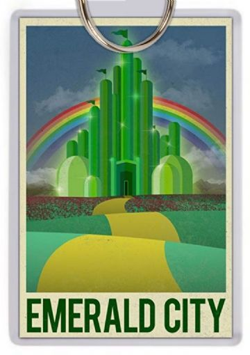 Emerald City Jumbo Keyring.  Wizard of Oz Travel Poster Style Art